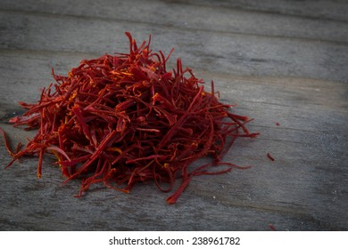 Imported Persian Saffron on Wooden Table