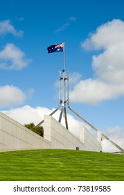 The imposiing structure of the flag pole atop Australia's Parliament House