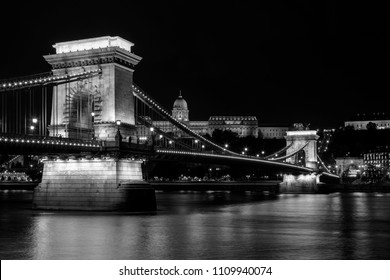 The imposing Buda Castle and the Chain Bridge at night.  World Heritage Site