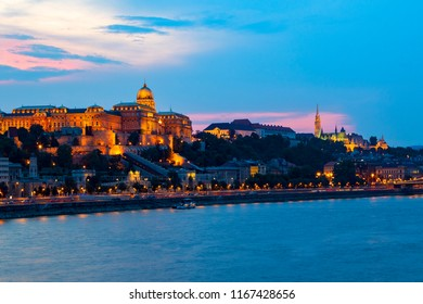"""The imposing Buda Castle at night on the """"Castle Hill"""". World Heritage Site"""