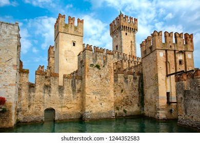 The Imposing Facade of the Sirmione Castle (Scaliger Castle) in Lake Garda, Italy
