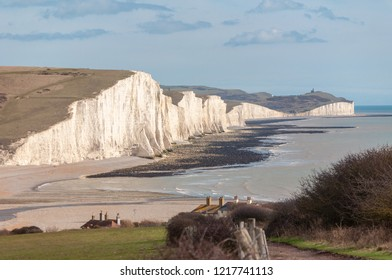 The imposing white cliffs Seven Sisters cliffs in late winter sunlight