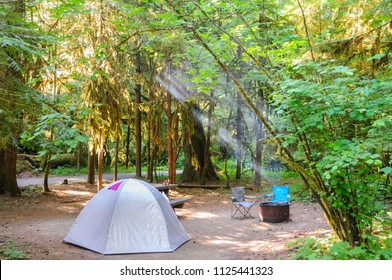Impression from the Campsite at La Wis Wis, along the Cowlitz river. Near Mount Rainier National Park.