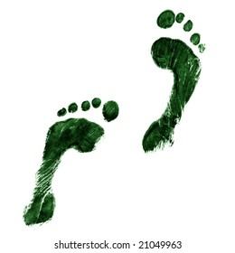 Impression of a pair of feet in green ink