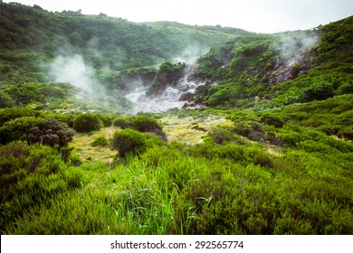 Impressionate landscape of sulphur fumaroles of Furnas do Enxofre in Terceira island, Azores, Portugal, Europe