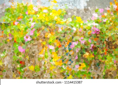 Impressionistic abstract of California poppies (binomial name: Eschscholzia californica) blooming along a tall fence in a northern California beach town, with digital painting effect