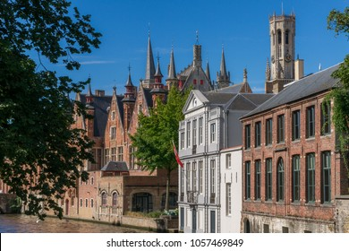 Impressions of brickwall houses along a small river in the Venice of the North, Bruges in Belgium