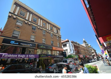 Impressions from Grant Avenue in Chinatown in San Francisco from May 3, 2017, California USA