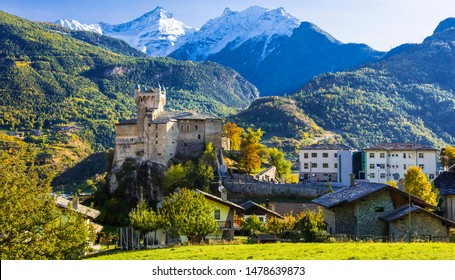 Impressive Alps mountains landscape, beautiful valley of castle Valle d'Aosta in northern Italy