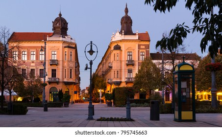 Impressive architecture of Debrecen streets at sunset, Hungary