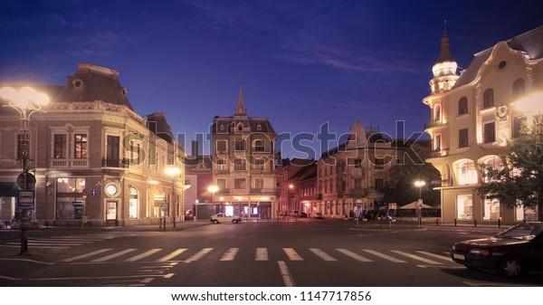 Impressive architecture of Oradea streets at night, Romania