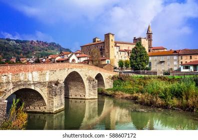 impressive Bormida monastery and castle in regione Asti in Piemonte, north of Italy