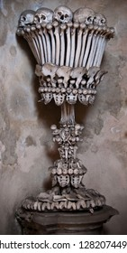Impressive composition of skulls in the ancient Sedlec Ossuary is a Catholic chapel in Kutna Hora in the Czech Republic