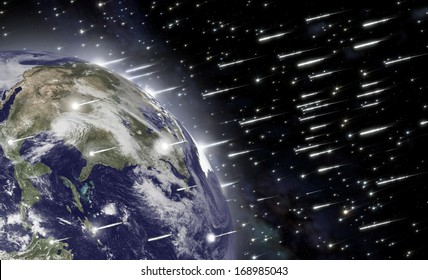 An impressive falling of asteroids hits the earth and causes the end of mankind. Elements of this image furnished by NASA