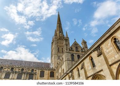 Impressive and famous cathedral with spire tower in the city of Norwich, in Norfolk, UK