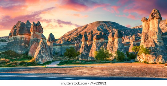 Impressive fungous forms of sandstone in the canyon near Cavusin village, Cappadocia, Nevsehir Province in the Central Anatolia Region of Turkey, Asia.