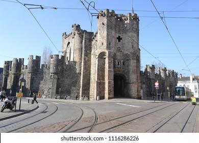 The impressive Gravensteen castle in Ghent, Belgium