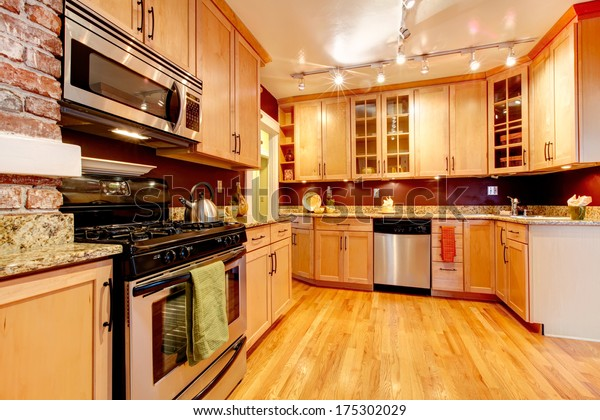 Impressive Kitchen Burgundy Backsplash Brick Wall Stock