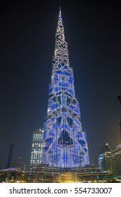 Impressive light show of the Burj Khalifa tower in Dubai.