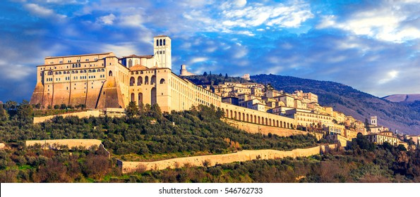 Impressive medieval Assisi town - religious center of Umbria. Italy
