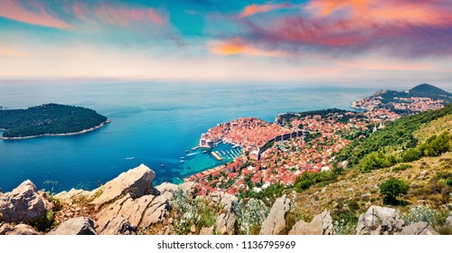 Impressive morning view of Dubrovnik city. Picturesque summer sunrise in Croatia, Europe. Beautiful world of Mediterranean countries. Traveling concept background.