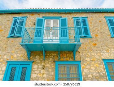 impressive old big house at Hydra island in Greece