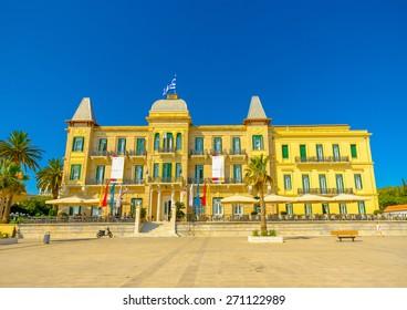 impressive old building in Spetses island in Greece