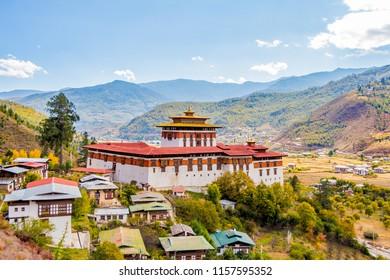 The impressive Paro dzong, a fortified monastery, in Bhutan