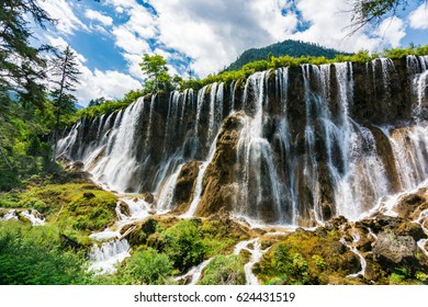 The impressive Pearl Shoal Waterfall, one of the highlights of Jiuzhaigou Valley in northern Szechuan, China