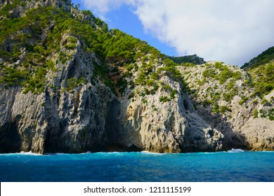 Impressive rock formations near Coll Baix beach, Alcudia, northern Mallorca coastline, Majorca, Balearic Islands, Spain.