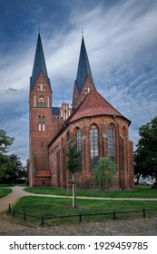 """Impressive sacred building: view from the northeast to the listed gothic monastery church """"St. Trinitatis"""", the oldest building in Neuruppin"""
