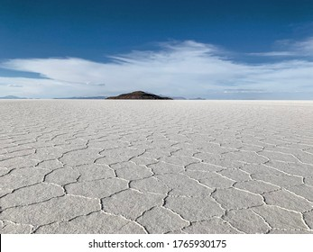 The impressive Salar de Uyuni (Uyuni Salt Falt) in southwest Bolivia. This the world's largest salt flat at 10,582 sq km. It is covered by several meters of salt and lithium crust.