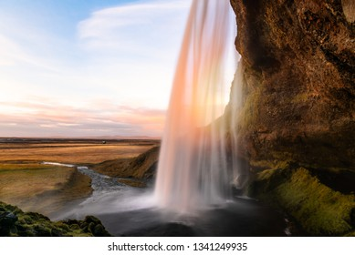 Impressive Seljalandsfoss Waterfall in Iceland at Sunset in Autumn