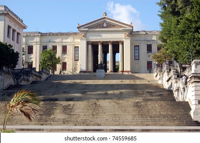 Impressive steps leading to Havana University, Cuba.  In the heart of the capital city's Vedado district, this landmark is sometimes used for concerts and rallies.