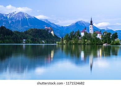 Impressive sunset at Bled Lake, Castel and Island, Bled, Triglav National Park, Upper Carniolan, Slovenia, Europe