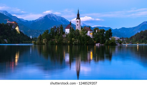Impressive sunset at Bled Lake, Castel and Island, Bled, Triglav National Park, Upper Carniolan, Slovenia, Europe
