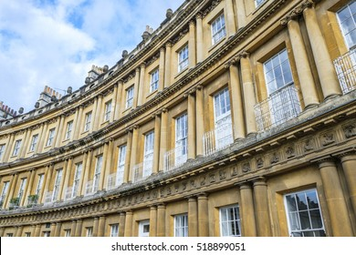 The impressive sweep of Georgian architecture of Royal Crescent in Bath, England with its columns and intricate carvings