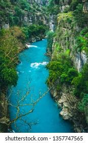 Impressive turquoise river landscape from Koprulu Canyon National Park in Manavgat, Antalya, Turkey. Koprucay.