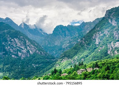Impressive view of alpine village. Picturesque and gorgeous scene. Popular tourist attraction. Location place Italian alps, Gran Paradiso National Park. Village houses in mountains.