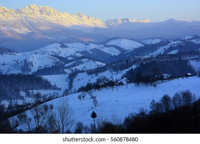 Impressive view of Bucegi mountains at dusk, in the wintertime