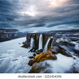 Impressive view of famous Selfoss waterfall. Location place Vatnajokull National Park, Jokulsa a Fjollum, Iceland, Europe. Scenic image of popular tourist destination. Discover the beauty of earth.