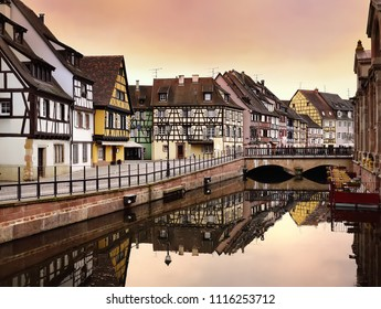 """Impressive view of the historic town of Colmar, also known as """"Little Venice"""". Colmar, Alsace, France"""