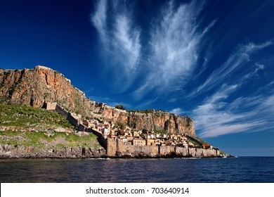 "Impressive view of the medieval ""castletown"" of Monemvasia from the sea. Lakonia, Peloponnese, Greece. Monemvasia is often called ""The Greek Gibraltar"". Date taken:2.3.2012."