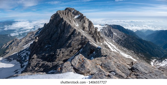 Impressive view on Mytikas, the highest mountain of Olympus ridge in Greece. View from Skala summit. Climbing on Mytikas.
