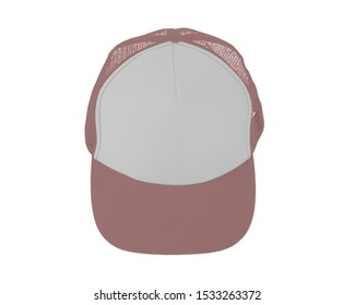 Impressive Up View Realistic Cap Mock Up In Ash Rose Color. Add your brand designs or logo on this realistic hat mock up.