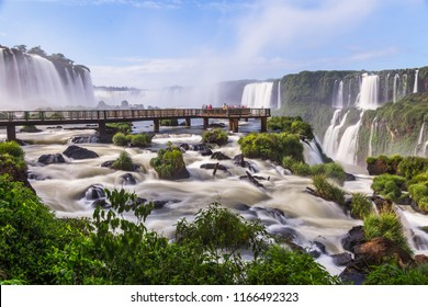 Impressive views of the Iguazu Falls at the border of Brazil and Argentina
