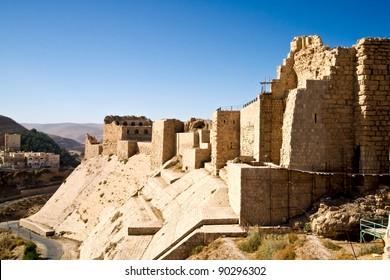 The impressive walls of the old crusaders castle of Karak in Jordan