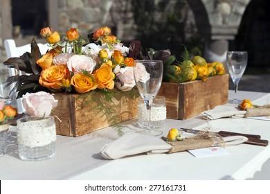 Impressive wedding table setup tangerine concepted