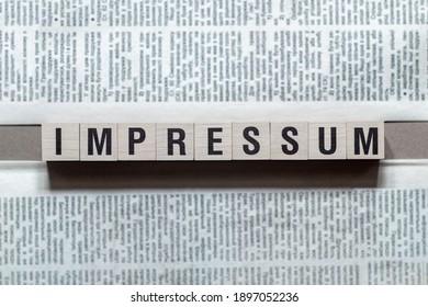 Impressum - word Imprint on german language,word concept