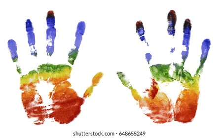 The imprint of the two hands of the rainbow colors, gouache, freedom